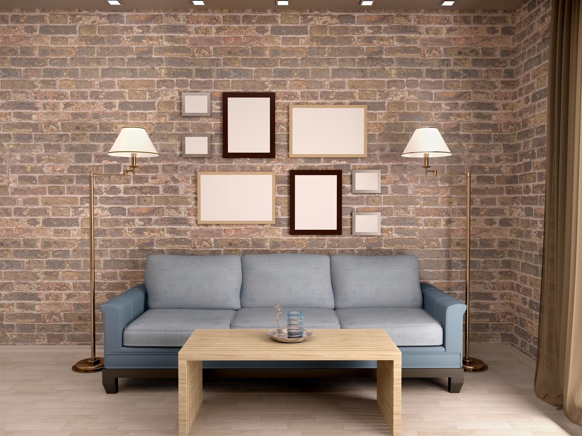 Faux Brick Wallpaper in Living Room